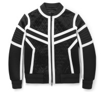 Quilted Satin, Neoprene And Jersey Bomber Jacket