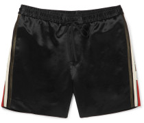 Webbing-trimmed Satin-twill Shorts