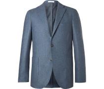 Blue Slim-fit Mélange Virgin Wool Blazer