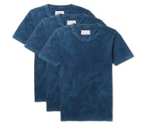 Three-pack Slim-fit Indigo-dyed Cotton-jersey T-shirts
