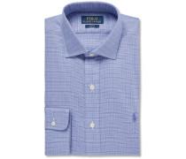 Blue Slim-fit Cutaway-collar Checked Cotton Shirt
