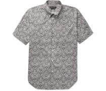 Brad Pitt Button-down Collar Printed Cotton-poplin Shirt