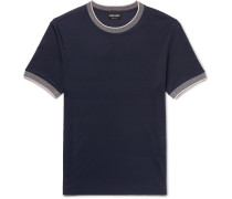 Slim-fit Contrast-trimmed Cotton-jersey T-shirt