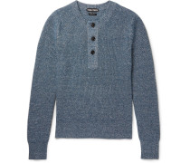 Mélange Cashmere And Linen-blend Henley Sweater