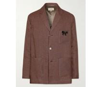 Embellished Checked Linen Blazer