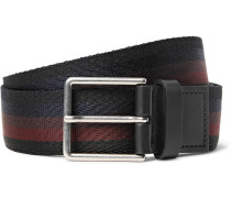 3.5cm Leather-trimmed Striped Webbing Belt