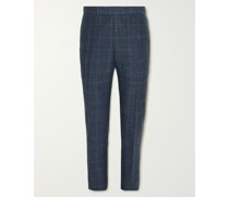 Slim-Fit Tapered Prince of Wales Checked Linen and Wool-Blend Suit Trousers