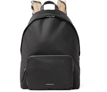 Checked Twill-trimmed Shell Backpack