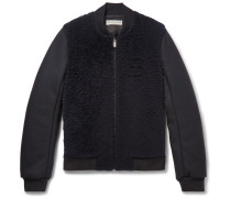Shearling-panelled Wool-blend Bomber Jacket