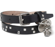 Leather And Metal Skull Wrap Bracelet