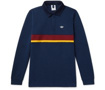 Samstag Corduroy-Trimmed Striped Cotton-Blend Jersey Rugby Shirt