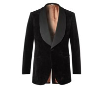 Faille-Trimmed Cotton and Linen-Blend Velvet Tuxedo Jacket