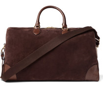 Leather-trimmed Suede Duffle Bag