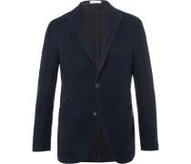 Navy Slim-fit Cotton-moleskin Blazer