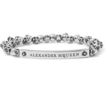 Skull Burnished Silver-tone Beaded Bracelet
