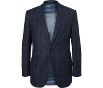 Blue Hyde Slim-fit Checked Wool Suit Jacket