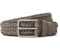 3cm Grey Braided Suede Belt