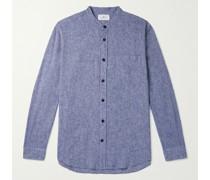 Grandad-Collar Mélange Linen and Cotton-Blend Shirt