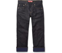 Velvet-panelled Denim Jeans