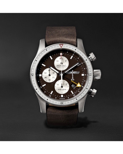 Boeing 100 Automatic Chronometer 43mm Titanium And Leather Watch - Brown