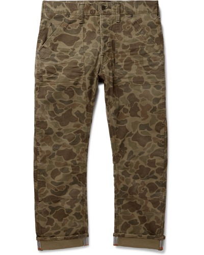 Cropped Reflective-trimmed Camouflage-print Cotton-blend Twill Trousers - Green