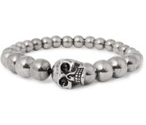 Silver-tone Beaded Skull Bracelet