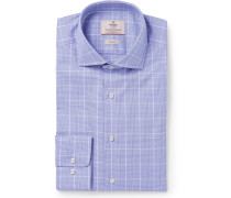 Blue Mayfair Slim-fit Prince Of Wales Checked Cotton-poplin Shirt