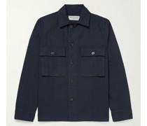 Swan Camp-Collar Garment-Dyed Cotton Overshirt