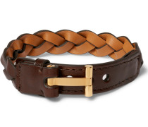 Woven Leather And Gold-plated Bracelet