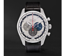 El Primero 36,000 Vph Stainless Steel And Alligator Watch