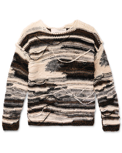 Distressed Cotton-blend Sweater - White