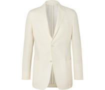 Cream Slim-fit Unstructured Linen, Cotton And Silk-blend Canvas Blazer - White