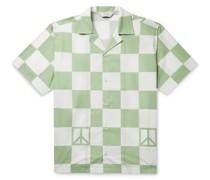 Canty Peace Camp-Collar Checked Cotton-Poplin Shirt
