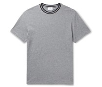 Contrast-Tipped Mélange Cotton and Cashmere-Blend Jersey T-Shirt