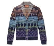 Shawl-Collar Crochet-Knit Wool and Cotton-Blend Cardigan