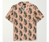 Camp-Collar Printed Linen Pyjama Shirt