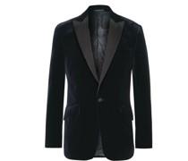 Fawn Slim-Fit Grosgrain-Trimmed Cotton-Velvet Tuxedo Jacket
