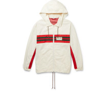 Logo-Appliquéd Striped Hooded Shell Track Jacket