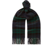 + Johnstons of Elgin Fringed Logo-Embroidered Checked Cashmere Scarf