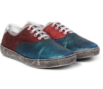 Distressed Metallic Suede Sneakers