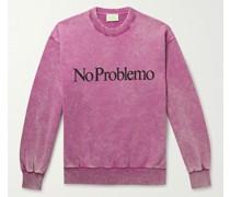No Problemo Acid-Washed Cotton-Jersey Sweatshirt