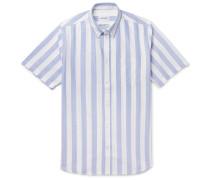 Theo Buttton-Down Collar Striped Cotton Oxford Shirt