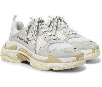 Triple S Nubuck, Leather And Mesh Sneakers - White
