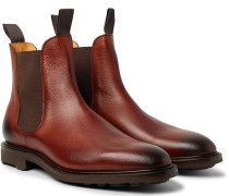 Newmarket Burnished Pebble-grain Leather Chelsea Boots