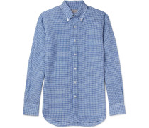 Button-down Collar Gingham Linen Shirt