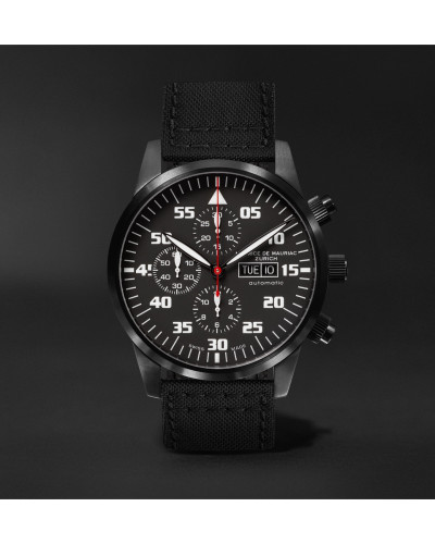 Zurich Chronograph 42mm Dlc-coated Stainless Steel And Kevlar Watch - Blue