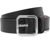 3cm Black Full-grain Leather Belt