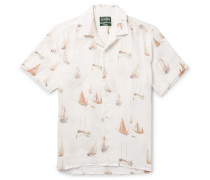 Camp-collar Sailboat-print Linen Shirt