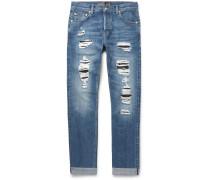 Skinny-fit Distressed Selvedge Denim Jeans
