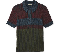 Printed Ribbed-knit Polo Shirt